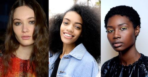 Hitta rätt frisyr för ditt tjocka hår med hjälp av rätt uppklippning. T.v: Derek Lam, Miu Miu, Naersiling.