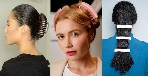 Räkna med att se mer av hårklämmorna under 2019. T.v: Alexander Wang, Marcel Ostertag, Rejina Pyo.
