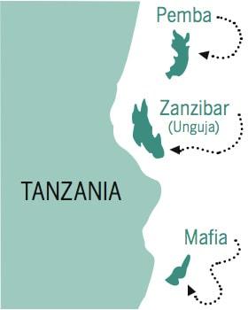 Zanzibar ligger utanför Tanzanias kust.