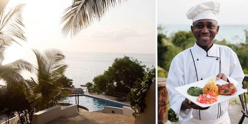 Pemba har flera fina boenden. Här är poolen vid Pemba Manta Resort. Ön är rik på underbara kryddor som ger många härliga matupplevelser.