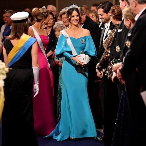 Prinsessan Sofia på Nobelfesten 2019 iklädd Emelie Janrell.