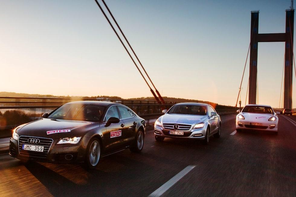 Audi A7, Mercedes CLS och Porsche Panamera.