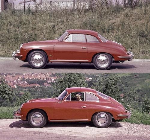 Hardtopbilarna var mekaniskt mycket lika de riktiga coupéerna men fick ett helt annat och betydligt tyngre utseende. Här kan 356 B hardtop Coupé från 1962 jämföras med en 356 C Coupé årsmodell 1964.