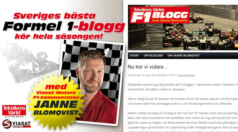 Sveriges bästa Formel 1-blogg kör hela säsongen!