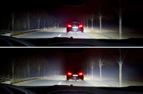 Skillnaden mellan vanligt helljus och Opels nya LED-matris-strålkastare.