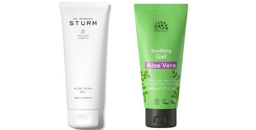 Aloe vera gel från Dr. Barbara Sturm och Soothing gel aloe vera från Urtekram.