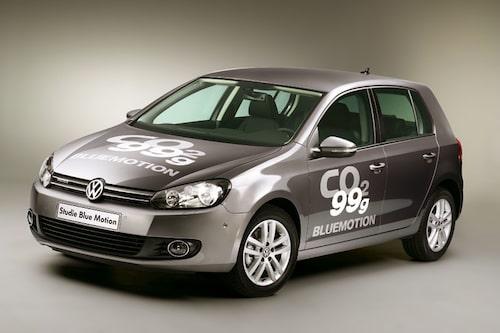 Volkswagen Golf BlueMotion. 0,38 l/mil och 99 gram koldioxid per kilometer.