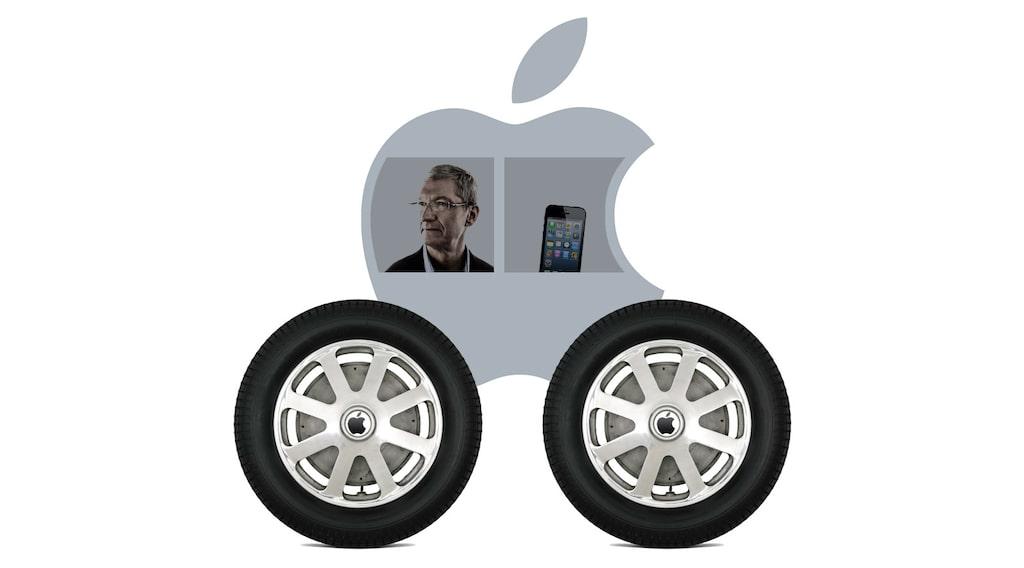 Obs! Bilden är ett montage och visar inte den riktiga Apple-bilen.