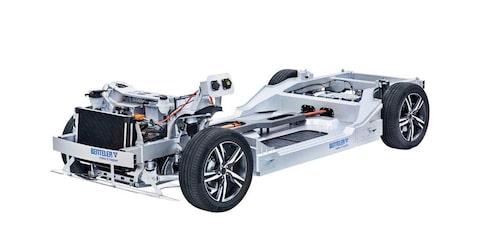 Grunden till en elbil byggd av tyska Benteler.