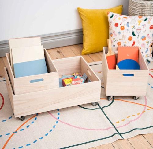Förvaring med hjul, rolig inredning i barnens rum!