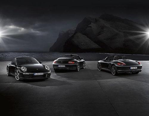 Hela Black Edition-familjen, 911 Black Edition och Boxster S Black Edition.