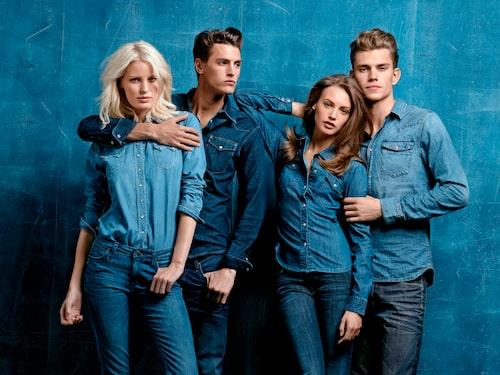 Caroline Winberg och Mathias Bergh i JC:s externa varumärken. Mona Johannesson och André Bentzer i JC:s egna jeansmärke Crocker.