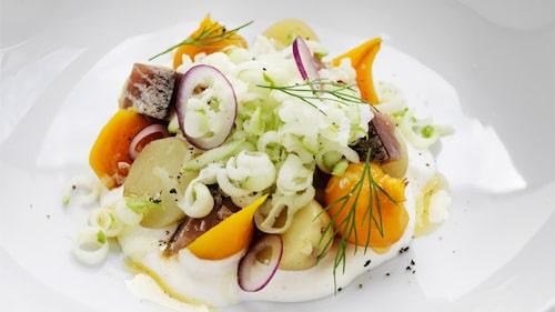 Mathias Dahlgrens recept på matjessill med pepparrot, äpple och brynt smör.
