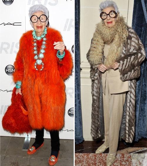 De svartbågade glasögonen och djärva valen är karaktäristiskt för Iris Apfels stil.