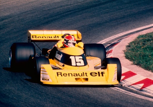 Renault och Elf –fransk kombo under debutsäsongen 1977.