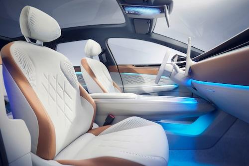 Volkswagen har satsat på hållbara material i ID. Space Vizzion, bland annat något som kallas för Apple Skin och som ersätter traditionellt läder och kan jämställas med konstläder.