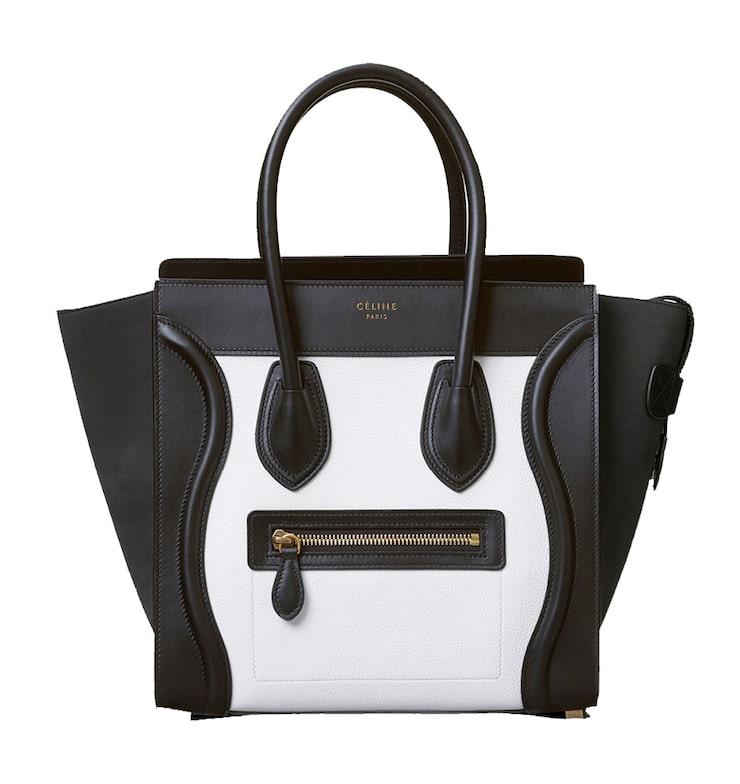Celine Luggage Tote i svartvit variant.