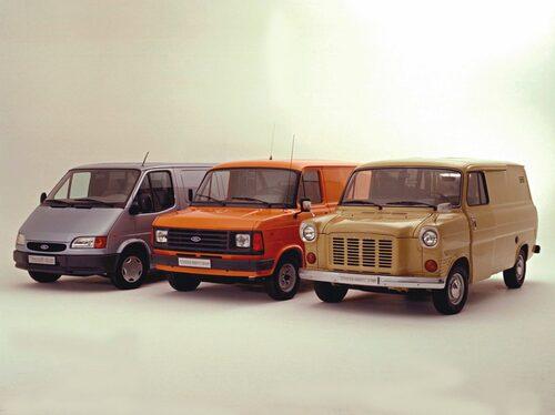 Ford Transit 1994, 1978 och 1972.