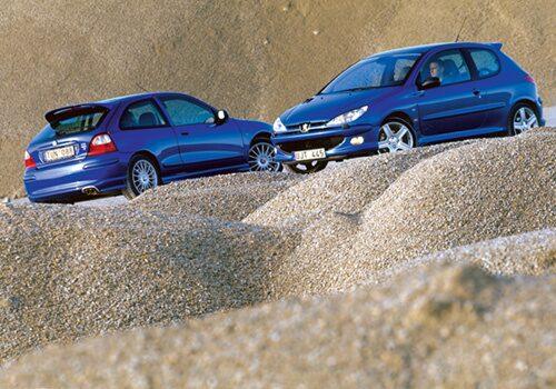 Peugeot 206 RC och MG-ZT 160