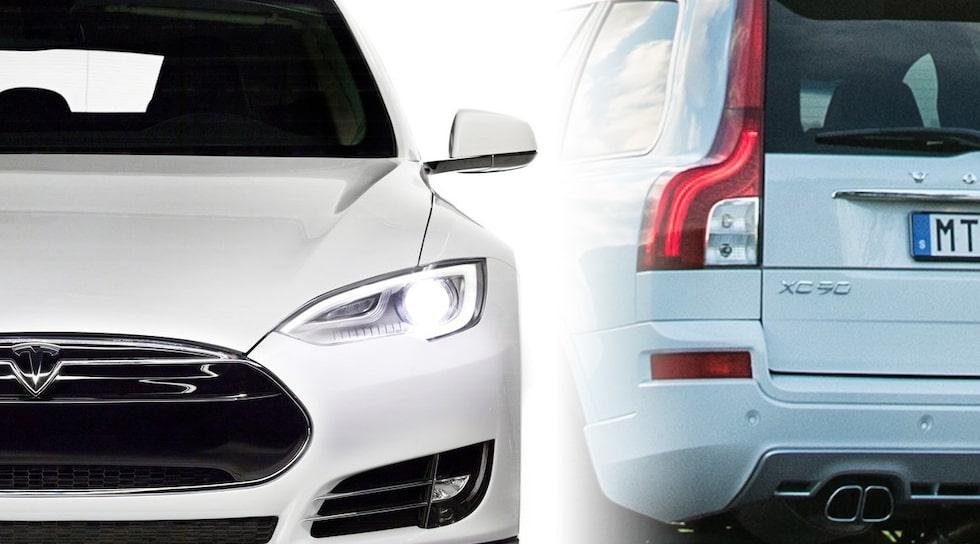 Tesla Model S och Volvo XC90