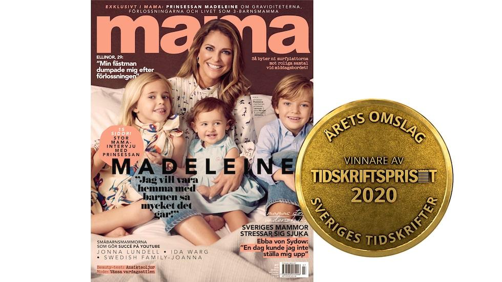Prinsessan Madeleine med barnen Leonore, Nicolas och Adrienne på omslaget av mama nr 7 2019.