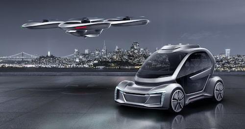 En elbil och en drönare. Tillsammans utgör de ett flygande transportalternativ för allmänheten – i framtiden. Eventuellt.