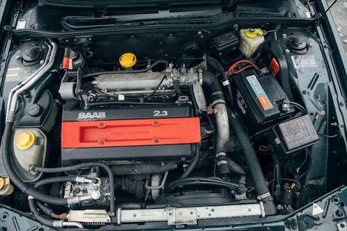 """Saabs 2,3T-motor är """"kvadratisk"""" med lika borrning som slaglängd."""