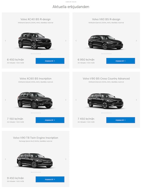 Volvos aktuella Care by Volvo-erbjudanden i Sverige.