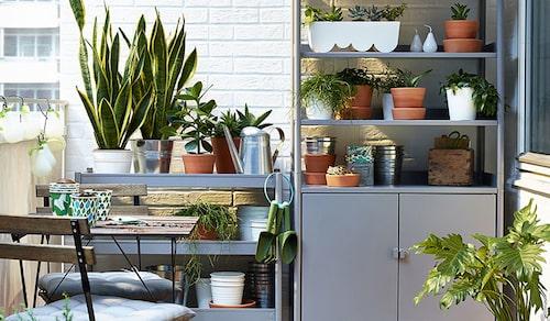 Praktiska förvaringsmöbler för odlande på balkongen. FOTO: Ikea