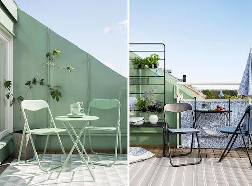 Ihopfällbara utemöbler är lätta att flytta runt och möblera om balkongen. FOTO: Rusta