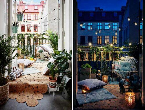 Inred balkongen med saker som tål lite regn eller är lätta att ta in. Utebelysningen skapar stämning även på kvällen. FOTO: Lagerhaus