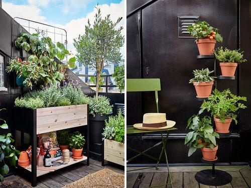 Med en odlingslåda med förvaring och piedestal för krukor utnyttjar man ytan bättre på balkongen. FOTO: Plantagen