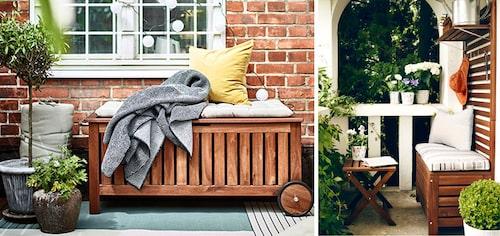 Smart sittpall med förvaring sparar plats på balkongen. FOTO: Ikea