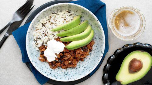Recept på mexikansk quorngryta med svarta bönor.