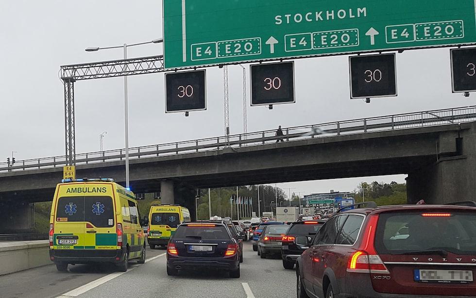 Trafik på E4 i Stockholm.