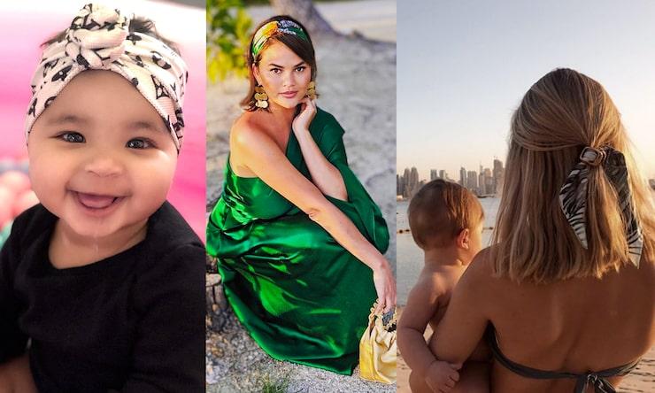 True Thompson, 1, barn till Khloé Kardashian, är verkligen urgullig i sitt hårband! Vi vill gärna ha ett matchande. Chrissy Teigen, 33, gift med John Legend, 40, och mamma till Luna, 2, och Miles, 11 månader, matchar scarf (här som hårband) med klänning. Influencern Sanne Josefsson, 29, mamma till Frans, 1, har hakat på trenden och satsar på håraccessoarer. Djurmönstrat är dessutom extra hett.