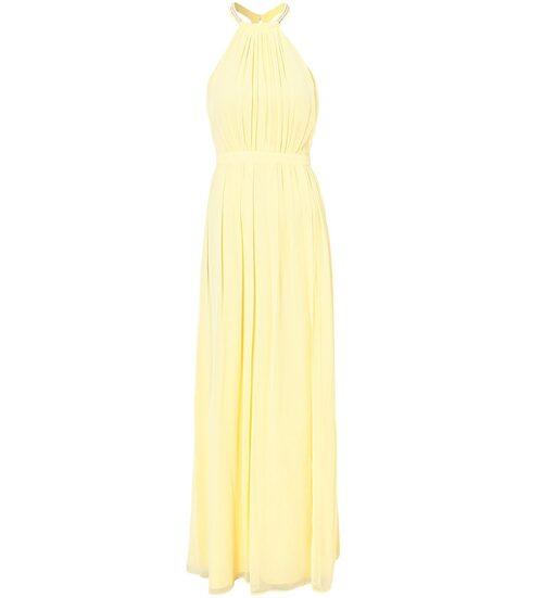 Gul festklänning från Nly Eve i halterneck-modell och vacker chiffong. Klicka på bilden och kom direkt till klänningen.