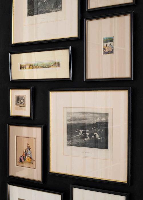 Litografier från Indien samsas med rävjaktsmotiv från England i en effektfull hängning i den svartmålade hallen.