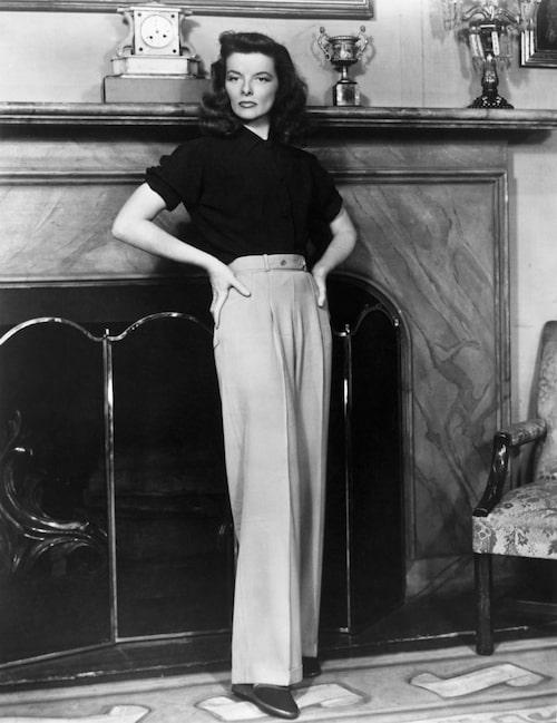 Katharine Hepburn i tidstypiska byxor 1940.