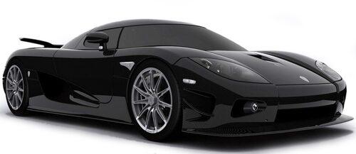 En svart Koenigsegg CCXR. Den som medverkar i filmen är lila.