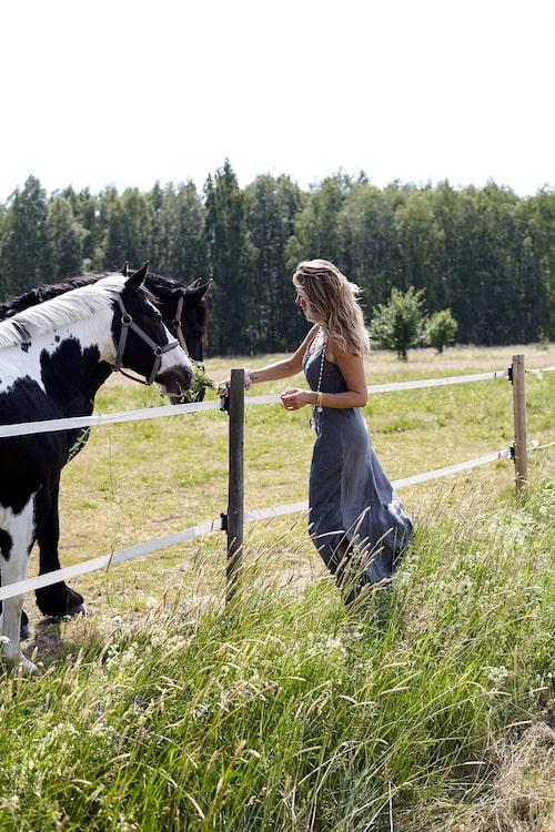 """""""Hästar fascinerar mig och jag älskar att se dem i hagen framför huset. Jag började rida sent i livet och har blivit ganska duktig på hoppning. När jag skaffar gård ska jag ha massor av hästar!"""""""