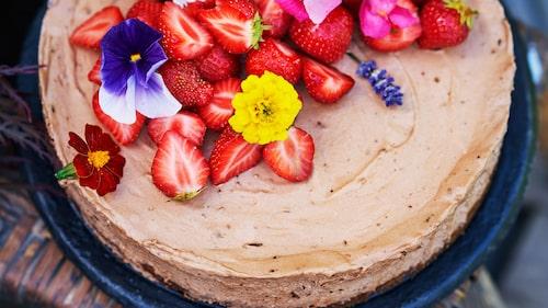 Recept på choklad- och nutellaparfait med jordgubbar.
