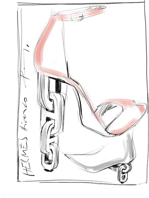 Skiss för Hermès av Pierre Hardy. AW2020.