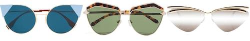 Cat eye-formade solglasögon, 3710 kr, Fendi. Sköldpaddsmönstrade solglasögon, 2520 kr, Karen Walker. Solglasögon med ram, 1095 kr, Le Specs.