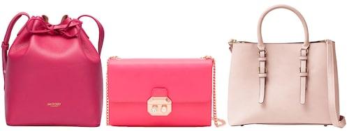 Rosa bucketbag av skinn, 2500 kr, Jim Rickey. Axelväska med guldkedja, 1600 kr, Ted Baker. Handväska med avtagbar axelrem, 449 kr, Åhléns.