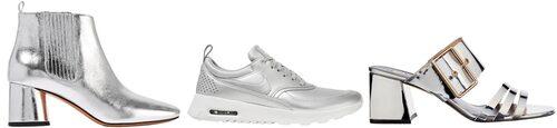 Lågklackade ankelboots, 4300 kr, Marc Jacobs. Silvriga sneakers, 1100 kr, Nike. Sandletter, 549 kr, River Island.