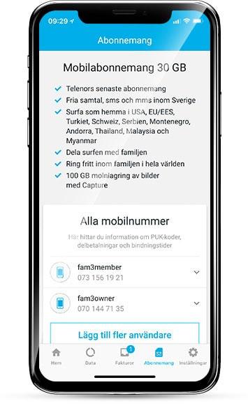 I Telenors app kan du enkelt addera användare av ett abonnemang.