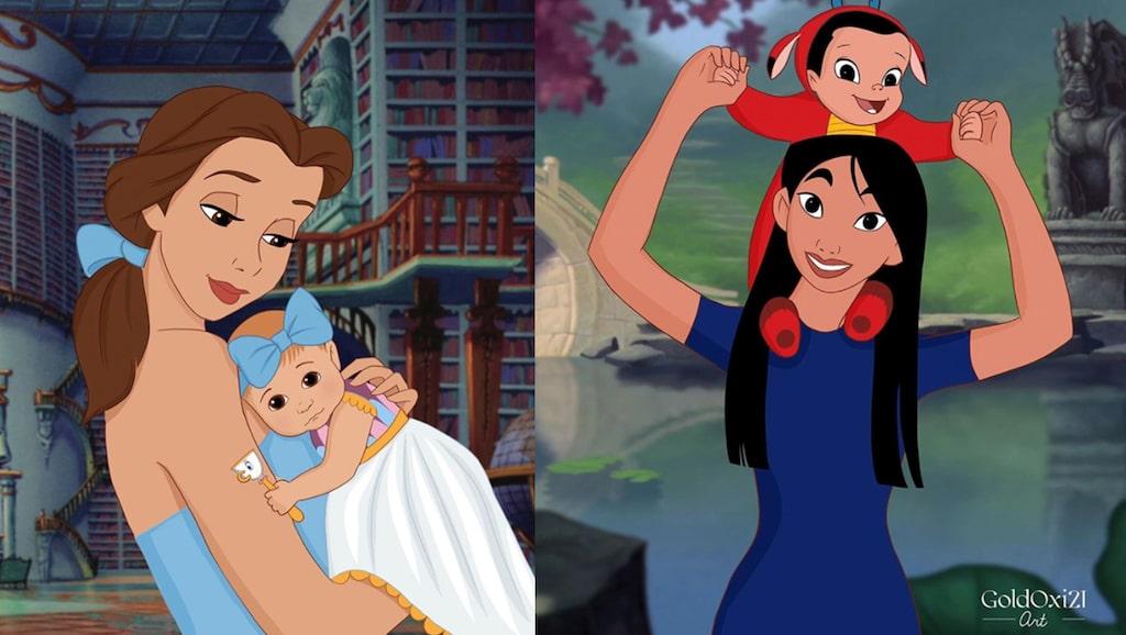 Den ryska konstnären Oksana Pashchenko har illustrerat Disneys prinsessor som mammor.