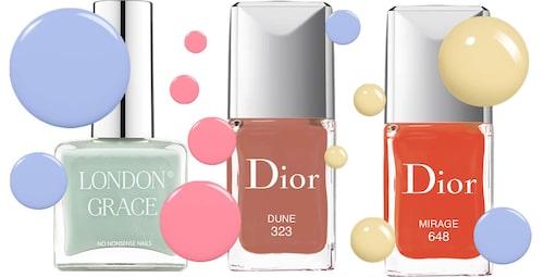 Nagellack från London Grace, Dior, Essie och OPI.