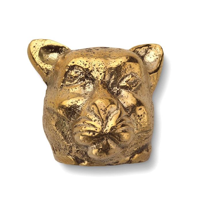 Hotta upp garderobsdörren med en vild katt! Knopp Panter i solid mässing, från Classic collection.